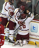 Kevin Hayes (BC - 12), Ryan Fitzgerald (BC - 19), Austin Cangelosi (BC - 26) - The Boston College Eagles defeated the visiting University of Wisconsin Badgers 9-2 on Friday, October 18, 2013, at Kelley Rink in Conte Forum in Chestnut Hill, Massachusetts.