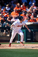 Alex McGarry (44) hits a home run during an NCAA game against the New Mexico Lobos at Surprise Stadium on February 14, 2020 in Surprise, Arizona. (Zachary Lucy / Four Seam Images)