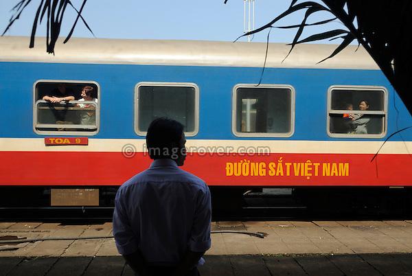 Asia, Vietnam, Da Nang. Train to Hue at the railway station.
