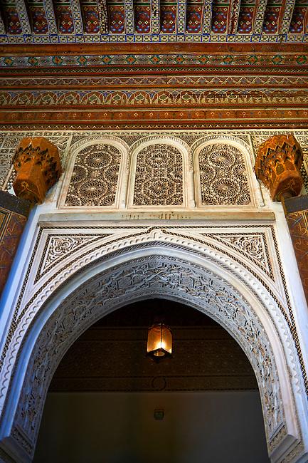 Berber arabesque Mocarabe and Muqarnas plasterwork.The Petite Court, Bahia Palace, Marrakesh, Morroco