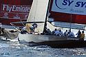 Louis Vuitton Trophy La Maddalena 6 giugno 2010. E' la finale tra Emirates Team New Zealand e Synergy Russian Sailing Team. I russi inseguono i neozelandesi al giro di boa.