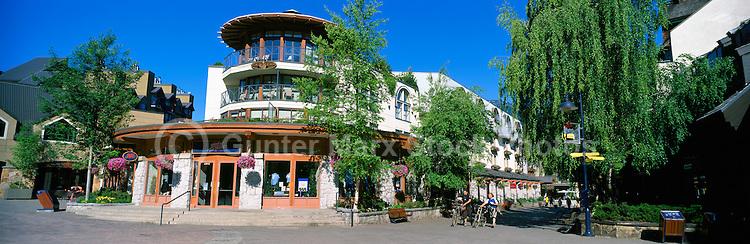 Mountain Square in Whistler Village, Whistler Ski Resort, BC, British Columbia, Canada, Summer - Panoramic View