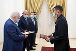 Palestinian President Mahmoud Abbas receives Credentials of the Indian Ambassador at Palestine in the West Bank city of Ramallah on June 16, 2021. Photo by Thaer Ganaim