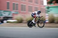 Alex Dowsett (GBR/Movistar) speeding along <br /> <br /> Elite Men TT<br /> UCI Road World Championships / Richmond 2015