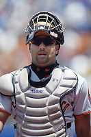Yorvit Torrealba of the San Francisco Giants during a 2002 MLB season game against the Los Angeles Dodgers at Dodger Stadium, in Los Angeles, California. (Larry Goren/Four Seam Images)