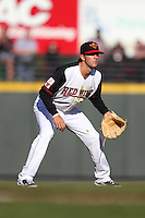 Rochester Red Wings shortstop Trevor Plouffe #1 in the field during a game against the Scranton Wilkes-Barre Yankees at Frontier Field on April 9, 2011 in Rochester, New York.  Rochester defeated Scranton 7-6 in twelve innings.  Photo By Mike Janes/Four Seam Images