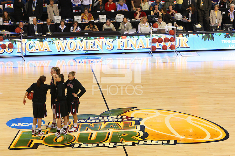 6 April 2008: Stanford Cardinal Morgan Clyburn, Kayla Pedersen, Ashley Cimino, and Jayne Appel during Stanford's 82-73 win against the Connecticut Huskies in the 2008 NCAA Division I Women's Basketball Final Four semifinal game at the St. Pete Times Forum Arena in Tampa Bay, FL.