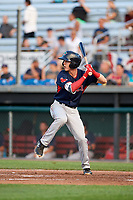 Lowell Spinners second baseman Grant Williams (11) at bat during a game against the Auburn Doubledays on July 13, 2018 at Falcon Park in Auburn, New York.  Lowell defeated Auburn 8-5.  (Mike Janes/Four Seam Images)