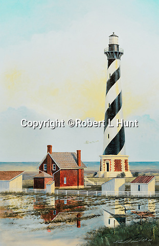 """Lighthouse at Cape Hatteras, North Carolina, guarding the Graveyard of the Atlantic Ocean, circa 1910. Available as a 22.5"""" x 14.5"""" fine art limited edition lithograph with Certificate of Authenticity."""