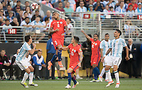 Action photo during the match Argentina vs Chile, Corresponding Group -D- America Cup Centenary 2016, at Levis Stadium<br /> <br /> Foto de accion durante el partido Argentina vs Chile, Correspondiante al Grupo -D-  de la Copa America Centenario USA 2016 en el Estadio Levis, en la foto: (i-d) Nicolas Gaitan de Argentina, Arturo Vidal, Charles Aranguiz de Chile y  Augusto Fernandez de Argentina<br /> <br /> <br /> 06/06/2016/MEXSPORT/David Leah.
