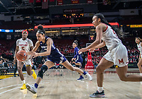 COLLEGE PARK, MD - JANUARY 26: Stephanie Jones #24 of Maryland closes in on Sydney Wood #3 of Northwestern during a game between Northwestern and Maryland at Xfinity Center on January 26, 2020 in College Park, Maryland.
