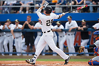 Gavin Sheets (24) of the Wake Forest Demon Deacons follows through on his 3-run home run in the bottom of the first inning against the Florida Gators in Game Two of the Gainesville Super Regional of the 2017 College World Series at Alfred McKethan Stadium at Perry Field on June 11, 2017 in Gainesville, Florida.  (Brian Westerholt/Four Seam Images)