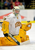 6 November 2009: University of Vermont Catamount goaltender Rob Madore, a Sophomore from Venetia, PA, in first period action against the University of Massachusetts River Hawks at Gutterson Fieldhouse in Burlington, Vermont. The Hockey East rivals battled to a 3-3 tie. Mandatory Credit: Ed Wolfstein Photo