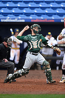 Siena Saints catcher Dave Hoffmann (25) throws down to second during the first game of a doubleheader against the Michigan Wolverines on February 27, 2015 at Tradition Field in St. Lucie, Florida.  Michigan defeated Siena 6-2.  (Mike Janes/Four Seam Images)