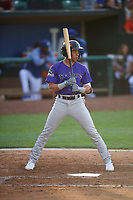 Eddy Diaz (14) of the Grand Junction Rockies bats against the Ogden Raptors at Lindquist Field on June 14, 2019 in Ogden, Utah. The Raptors defeated the Rockies 12-0. (Stephen Smith/Four Seam Images)