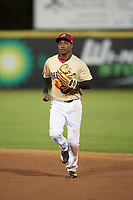 Potomac Nationals center fielder Victor Robles (16) during the second game of a doubleheader against the Salem Red Sox on May 13, 2017 at G. Richard Pfitzner Stadium in Woodbridge, Virginia.  Potomac defeated Salem 3-2.  (Mike Janes/Four Seam Images)