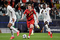 Kevin De Bruyne of Belgium and Raphael Varane of France and Paul Pogba of France during the Uefa Nations League semi-final football match between Belgium and France at Juventus stadium in Torino (Italy), October 7th, 2021. Photo Andrea Staccioli / Insidefoto