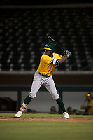 AZL Athletics left fielder Lawrence Butler (23) at bat during an Arizona League game against the AZL Cubs 1 at Sloan Park on June 28, 2018 in Mesa, Arizona. The AZL Athletics defeated the AZL Cubs 1 5-4. (Zachary Lucy/Four Seam Images)
