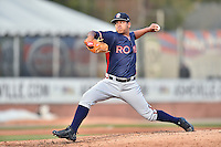 Rome Braves starting pitcher Ricardo Sanchez (57) delivers a pitch during a game against the Rome Braves at McCormick Field on April 14, 2016 in Asheville, North Carolina. The Braves defeated the Tourists 4-3. (Tony Farlow/Four Seam Images)