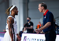 22nd February 2021, Podgorica, Montenegro; Eurobasket International Basketball qualification for the 2022 European Championships, England versus France;  Vincent Collet speak stactics to Andrew Albicy of France