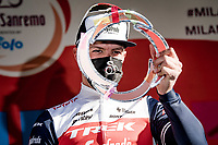 Jasper Stuyven (BEL/Trek-Segafredo) wins the 112th Milano-Sanremo 2021 (1.UWT) and gets a trophy to boot.<br /> <br /> 1 day race from Milan to Sanremo (299km)<br /> <br /> ©kramon