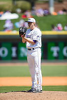 Winston-Salem Dash starting pitcher James Dykstra (18) looks to his catcher for the sign against the Carolina Mudcats at BB&T Ballpark on April 22, 2015 in Winston-Salem, North Carolina.  The Dash defeated the Mudcats 4-2..  (Brian Westerholt/Four Seam Images)