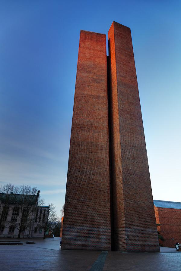 Campanile in Red Square at twilight, University of Washington, Seattle, Washington, USA
