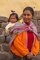 Peru, Cusco.  Quechua Mother and Daughter.