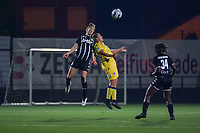 Hanne Hellinx (3) of Sporting du Pays de Charleroi and Ellen Martens (2) of Club Brugge pictured during a female soccer game between Sporting Charleroi and Club Brugge YLA on the sixth matchday in the 2021 - 2022 season of Belgian Scooore Womens Super League , friday 8 October 2021 in Marcinelle , Belgium . PHOTO SPORTPIX   STIJN AUDOOREN