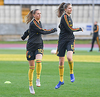 20190304 - LARNACA , CYPRUS :  Belgian Zandy Soree and Marie Minnaert pictured during a women's soccer game between Nigeria and the Belgian Red Flames , on Monday 4 th March 2019 at the GSZ Stadium in Larnaca , Cyprus . This is the third and last game in group C for both teams during the Cyprus Womens Cup 2019 , a prestigious women soccer tournament as a preparation on the Uefa Women's Euro 2021 qualification duels. PHOTO SPORTPIX.BE | DAVID CATRY