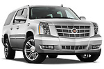 Low aggressive passenger side front three quarter view of a 2007 - 2014 Cadillac Escalade ESV Premium SUV