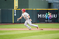 Cody Stanley (21) of the Memphis Redbirds in action against the Omaha Storm Chasers in Pacific Coast League action at Werner Park on April 24, 2015 in Papillion, Nebraska.  (Stephen Smith/Four Seam Images)