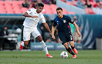 DENVER, CO - JUNE 3: Sergino Dest #2 of the United States looks for an open man during a game between Honduras and USMNT at EMPOWER FIELD AT MILE HIGH on June 3, 2021 in Denver, Colorado.