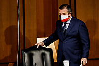 United States Senator Ted Cruz (Republican of Texas) is seated prior to a Senate Judiciary Committee hearing on the nomination of Judge Merrick Garland to be U.S. Attorney General on Capitol Hill in Washington, U.S., February 22, 2021.<br /> Credit: Carlos Barria / Pool via CNP /MediaPunch