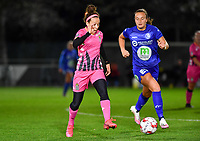 Ines Dhaou (5 Charleroi) pictured with Lobke Loonen (19 Gent) during a female soccer game between  AA Gent Ladies and Sporting Charleroi Feminin on the fifth matchday of the 2020 - 2021 season of Belgian Scooore Womens Super League , friday 16 th of October 2020  in Oostakker , Belgium . PHOTO SPORTPIX.BE | SPP | DAVID CATRY