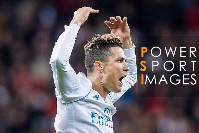 Cristiano Ronaldo of Real Madrid celebrates his side going through to the Semi-Finals of the UEFA Champions League after the UEFA Champions League 2017-18 quarter-finals (2nd leg) match between Real Madrid and Juventus at Estadio Santiago Bernabeu on 11 April 2018 in Madrid, Spain. Photo by Diego Souto / Power Sport Images
