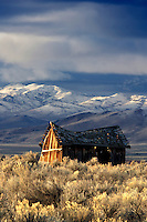 Sunrise on abandoned cabin and the Pueblo Mountaions with fresh snow. Oregon
