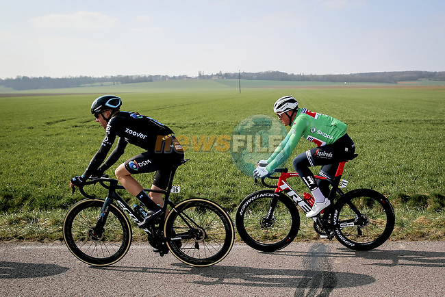 Casper Pedersen (DEN) Team DSM and Mads Pedersen (DEN) Trek-Segafredo during Stage 2 of Paris-Nice 2021, running 188km from Oinville-sur-Montcient to Amilly, France. 8th March 2021.<br /> Picture: ASO/Fabien Boukla | Cyclefile<br /> <br /> All photos usage must carry mandatory copyright credit (© Cyclefile | ASO/Fabien Boukla)