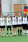 FRANKFURT AM MAIN, GERMANY - April 14: Pia Balz #7, Mareile Kriwall #6, Henrike Voigt #5, Jella Kandziora #4 and Sabine Paul #1 of Germany during the national anthem before the Deutschland Lacrosse International Tournament match between Germany vs Great Britain during the on April 14, 2013 in Frankfurt am Main, Germany. Great Britain won, 10-9. (Photo by Dirk Markgraf)
