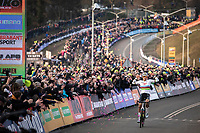 Mathieu Van der Poel (NED/Alpecin Fenix) solo's to victory <br /> <br /> Men Elite Race<br /> UCI Cyclocross Worldcup – Hoogerheide (Netherlands)<br /> <br /> ©kramon