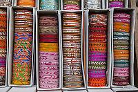 Jaipur, Rajasthan, India.  Boxes of Bracelets.