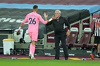 Karl Darlow of Newcastle United and Newcastle United Manager Steve Bruce during West Ham United vs Newcastle United, Premier League Football at The London Stadium on 12th September 2020