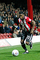 Josh Clarke of Brentford attacks the flanks during the Sky Bet Championship match between Brentford and Derby County at Griffin Park, London, England on 26 September 2017. Photo by Carlton Myrie / PRiME Media Images.