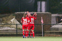 Standard players celebrate their team's goal during a female soccer game between Oud Heverlee Leuven and Standard Femina De Liege on the 10th matchday of the 2020 - 2021 season of Belgian Womens Super League , sunday 20 th of December 2020  in Heverlee , Belgium . PHOTO SPORTPIX.BE   SPP   SEVIL OKTEM
