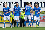 St Johnstone v Aberdeen...23.08.14  SPFL<br /> Birthday boy Steven MacLean celebrates his goal with Gary McDonald<br /> Picture by Graeme Hart.<br /> Copyright Perthshire Picture Agency<br /> Tel: 01738 623350  Mobile: 07990 594431
