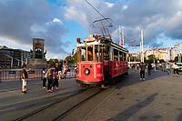 Historic red tram on Taksim Square in Istanbul, Turkey