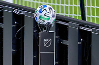 CHICAGO, UNITED STATES - AUGUST 25: A detail view of a MLS match ball is seen as a spare ball behind the goal during a game between FC Cincinnati and Chicago Fire at Soldier Field on August 25, 2020 in Chicago, Illinois.