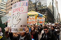 NEW YORK, NY - NOVEMBER 21: Hundreds of Colombians protest in New York City against their president Iván Duque and Colombia's government policies at Times Square on November 21, 2019 in New York. Thousands of Colombia anti-government protesters took the streets during a nationwide strike, where at least 200.000 people between students, teachers and labor union organizers marched across the country being the biggest march and protest in recent years (Photo by Pablo Monsalve / VIEWpress)
