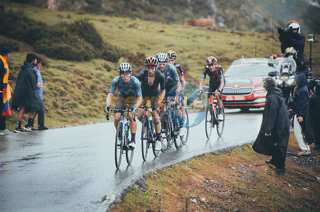 Miguel Angel Lopez Moreno (COL) leads team mate Enric Mas (ESP) Movistar Team and Adam Yates (GBR) Ineos Grenadiers in the chase group on the final climb during Stage 17 of La Vuelta d'Espana 2021, running 185.8km from Unquera to Lagos de Covadonga, Spain. 1st September 2021.    <br /> Picture: Cxcling   Cyclefile<br /> <br /> All photos usage must carry mandatory copyright credit (© Cyclefile   Cxcling)