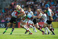 Richie Gray of Sale Sharks drives into Nick Evans (left) and Tom Guest of Harlequins during the Aviva Premiership match between Harlequins and Sale Sharks at The Twickenham Stoop on Saturday 15th September 2012 (Photo by Rob Munro)